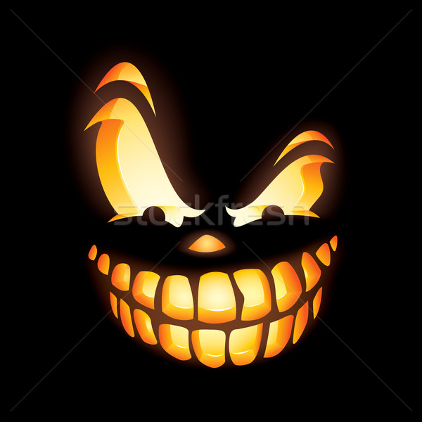 Scary Jack O Lantern Vector Illustration Su Fen Low Ori