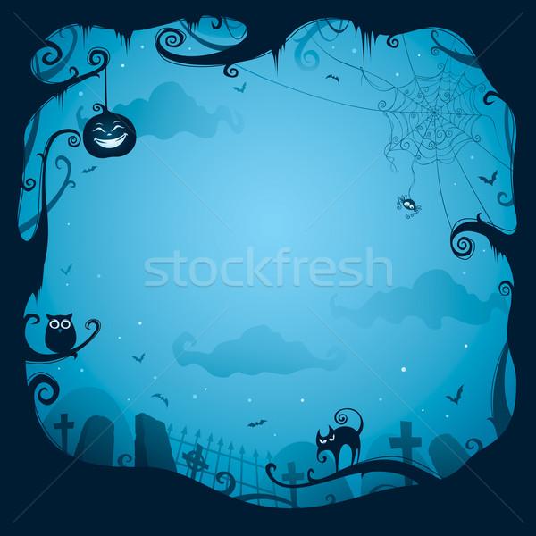 Halloween keret terv széles üres hely illusztráció Stock fotó © ori-artiste