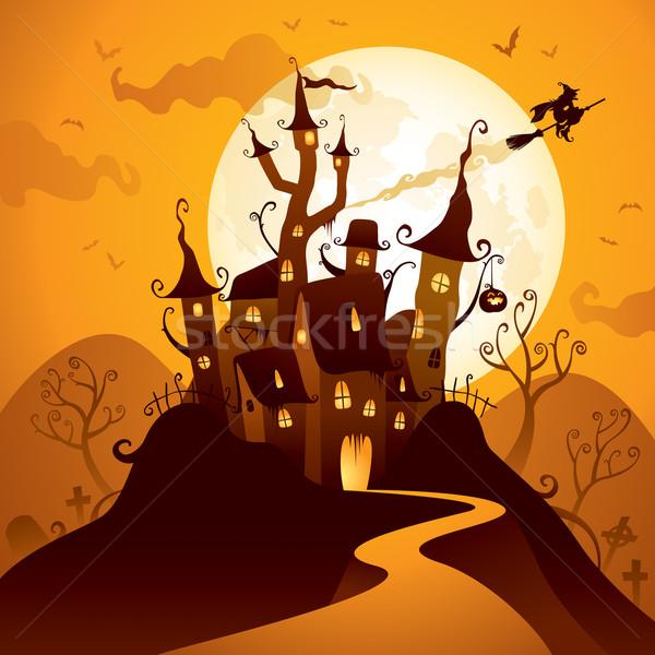 Halloween kastély ijesztő hold Stock fotó © ori-artiste
