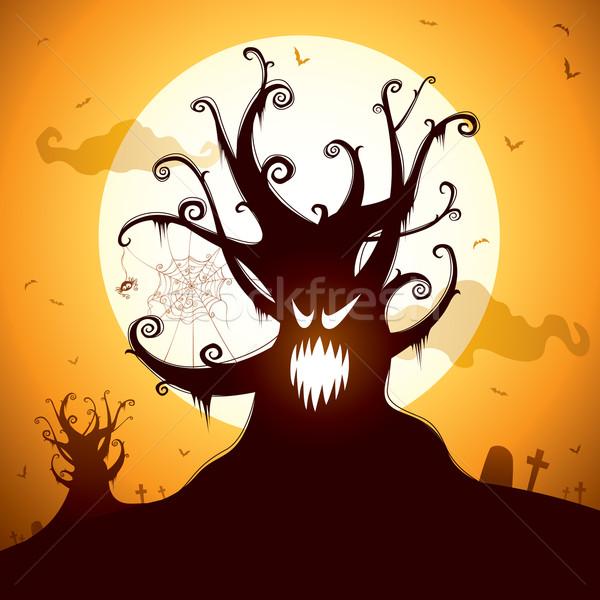 Ijesztő fa halloween éjszaka illusztráció Stock fotó © ori-artiste