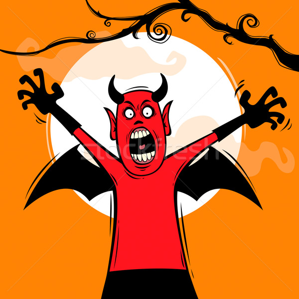Halloween meglepetés démon ugrik felfelé éjszaka Stock fotó © ori-artiste