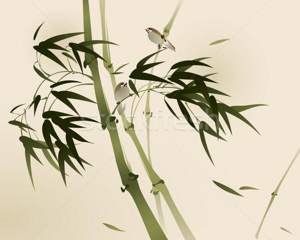 Távolkeleti stílus festmény bambusz ágak ecset Stock fotó © ori-artiste