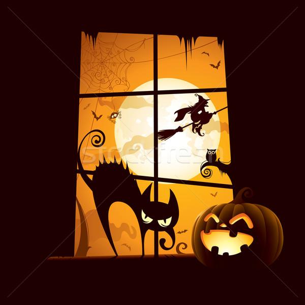 Halloween jelenet kilátás ablak Stock fotó © ori-artiste