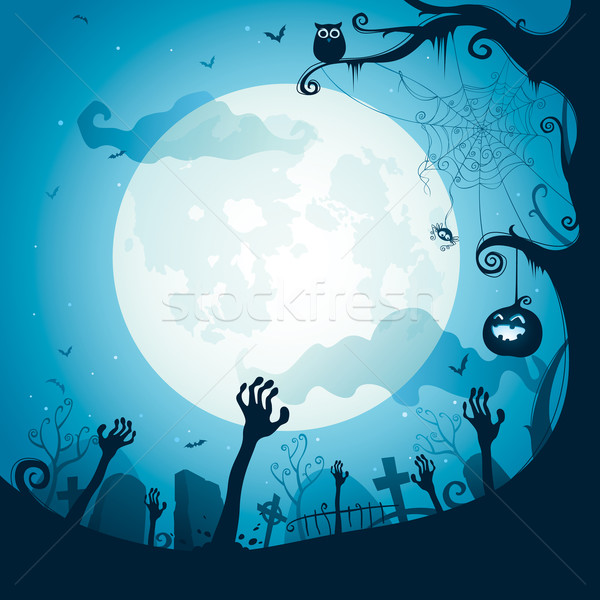 Halloween illustratie kerkhof doorzichtigheid eps10 vector Stockfoto © ori-artiste