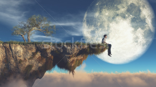 Man on the edge of a cliff  Stock photo © orla