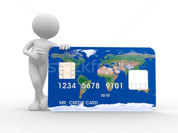 Stock fotó: Hitelkártya · 3d · emberek · férfi · személy · pénz · háttér