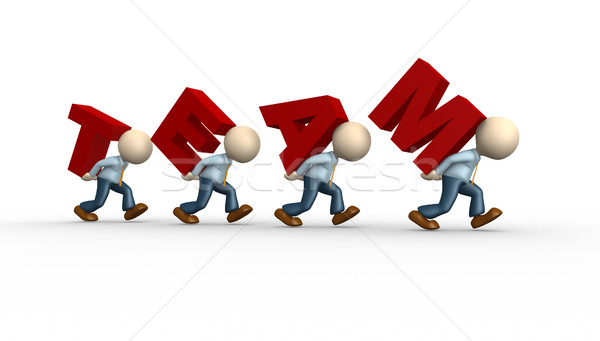 Teamwerk 3d mensen mannen woord team persoon Stockfoto © orla