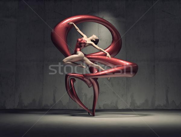 Fiatal gyönyörű tornász pózol piros jelmez Stock fotó © orla