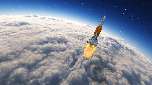 ракета пространстве земле покрытый облака 3d визуализации Сток-фото © orla