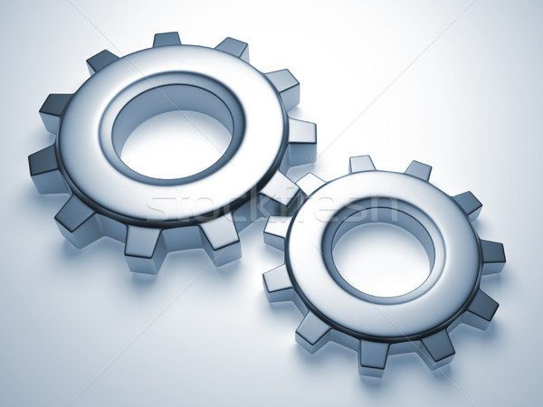 Gear механизм два 3d визуализации иллюстрация Сток-фото © orla