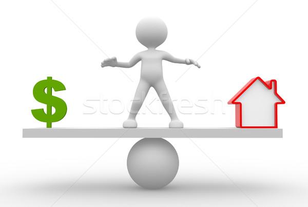 Dollarteken huis 3d mensen man persoon evenwicht Stockfoto © orla