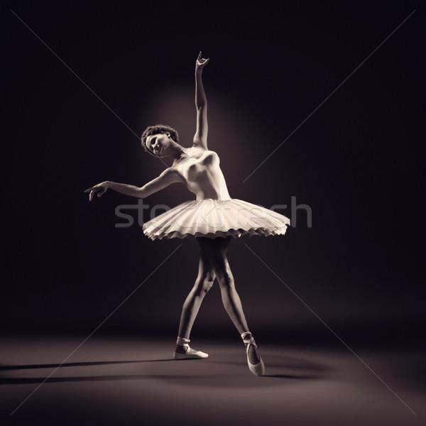 Fiatal gyönyörű ballerina fehér 3d render illusztráció Stock fotó © orla