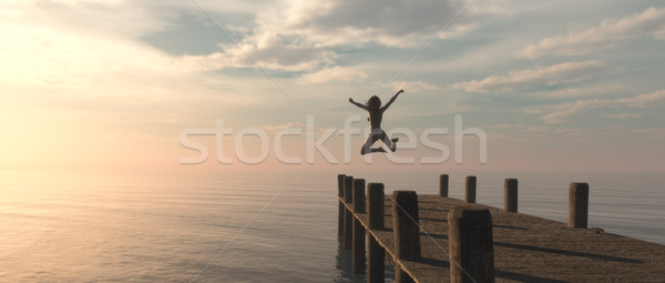Woman jumping Stock photo © orla
