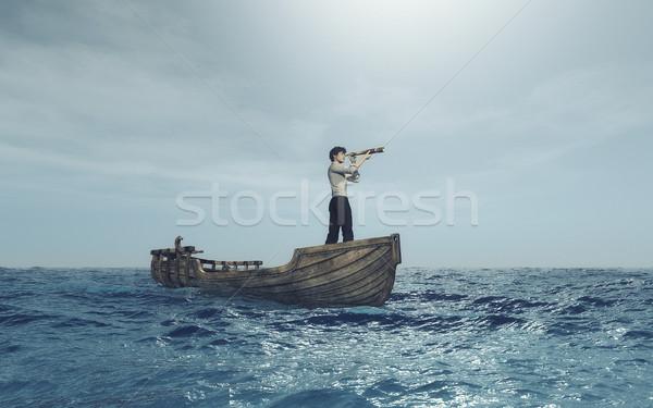 Man kijken boot zee 3d render illustratie Stockfoto © orla