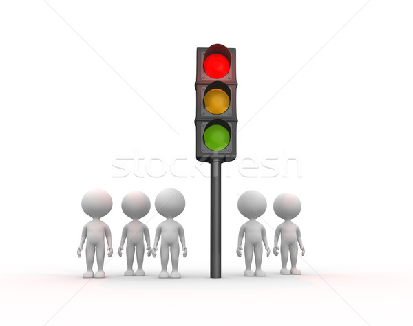 ストックフォト: 信号 · 3次元の人々 · 男性 · 人 · 市 · 通り