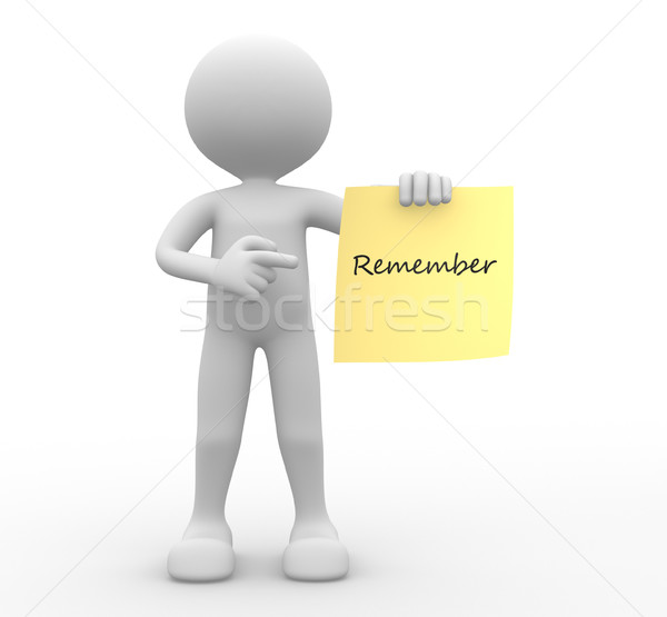 Yellow paper and word 'remember' Stock photo © orla