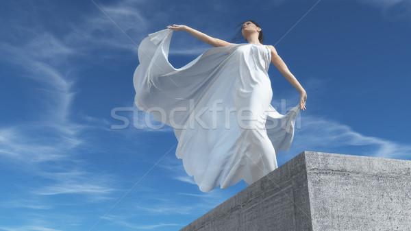 Mulher jovem vestido branco elegante para cima stonewall Foto stock © orla