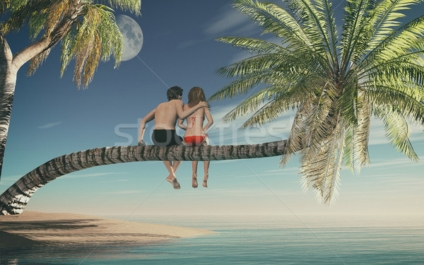 Foto stock: Casal · sessão · palmeira · oceano · 3d · render · ilustração