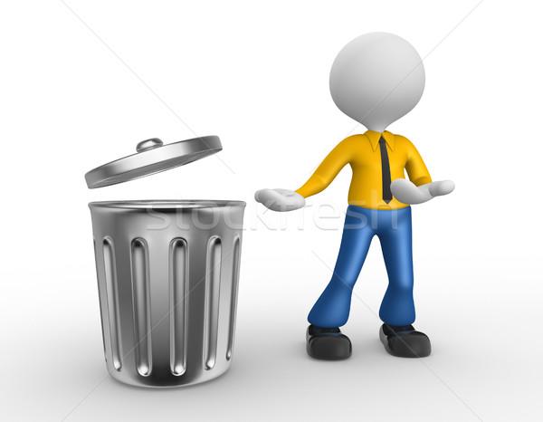 мусорное ведро 3d люди человека человек Постоянный фон Сток-фото © orla