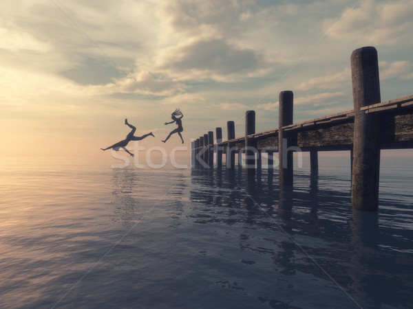 Couple jumping together  Stock photo © orla