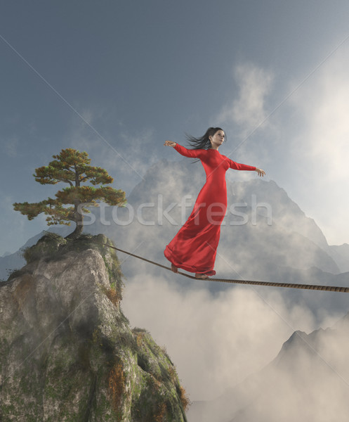 Young girl walking in balance on the rope  Stock photo © orla