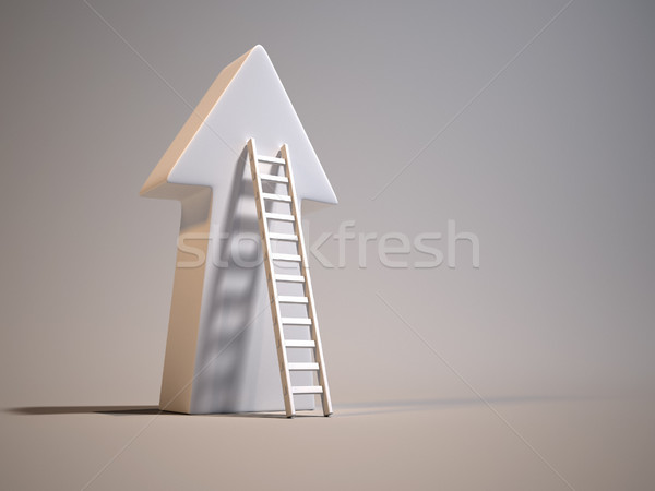 Stock photo: Stair leading an arrow - 3d render illustration