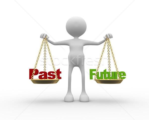 Geçmiş gelecek 3d insanlar adam kişi sözler Stok fotoğraf © orla