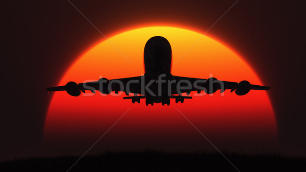 The silhouette of an airplane  Stock photo © orla