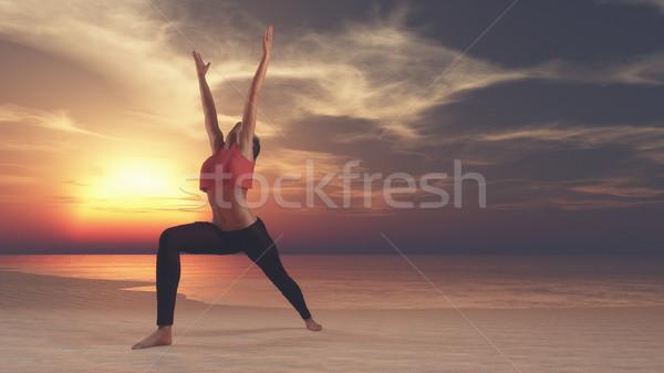 Fiatal nő gyakorol jóga tenger tengerpart naplemente Stock fotó © orla