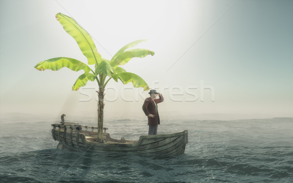 Man sitting in old wooden boat  Stock photo © orla