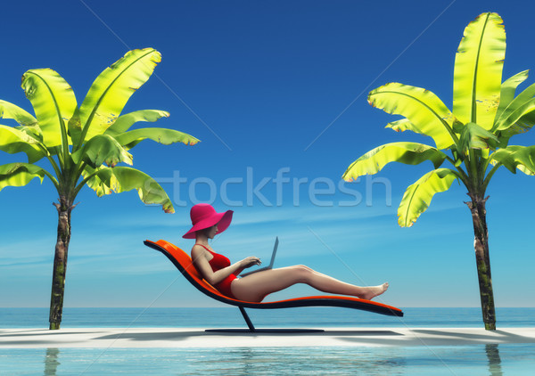 Woman in swimsuit using a laptop Stock photo © orla