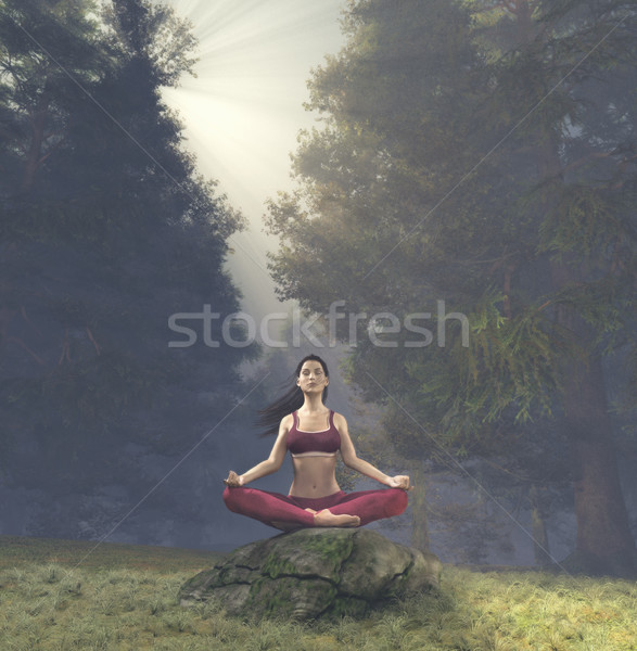 Woman meditating in lotus posture Stock photo © orla