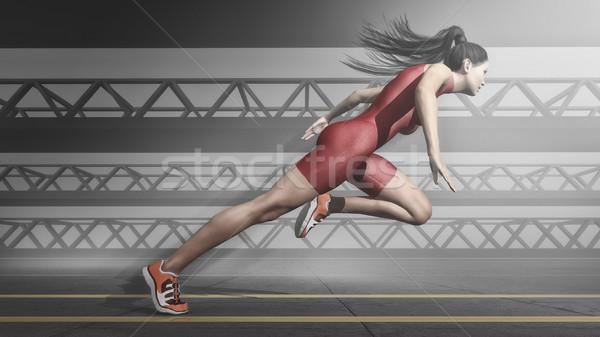 女子 運動員 運行 追踪 三維渲染 插圖 商業照片 © orla