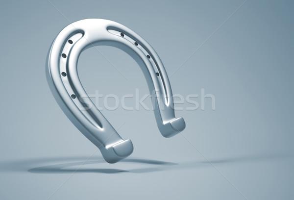 Hoefijzer zilver Blauw 3d render klaver grafische Stockfoto © orla