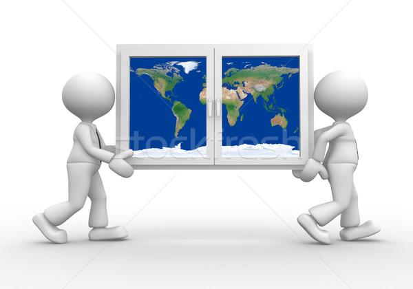 Сток-фото: окна · 3d · люди · мужчин · человек · земле