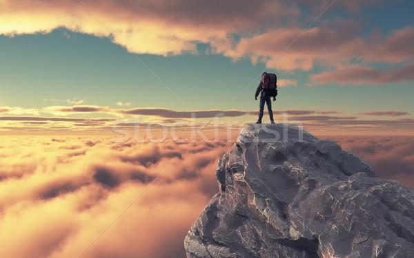 Stockfoto: Jonge · man · omhoog · berg · landschap · 3d · render · illustratie