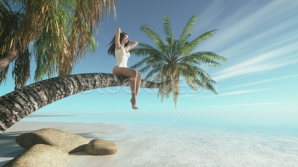 Woman siting upon palm tree on the beach.  Stock photo © orla