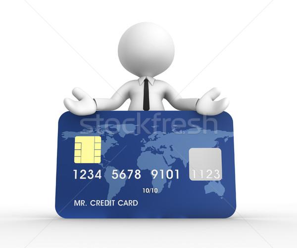 Stock fotó: Hitelkártya · 3d · emberek · férfi · személy · kezek · földgömb