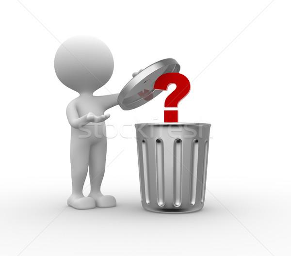 çöp kutusu soru işareti 3d insanlar adam kişi ayakta Stok fotoğraf © orla