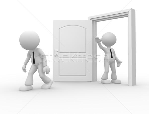 üzletember 3d emberek férfi személy ki ajtó Stock fotó © orla