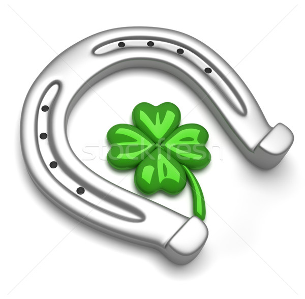 Horseshoe and clover Stock photo © orla