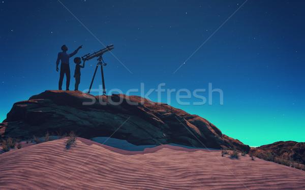 Man kind telescoop 3d render illustratie Stockfoto © orla