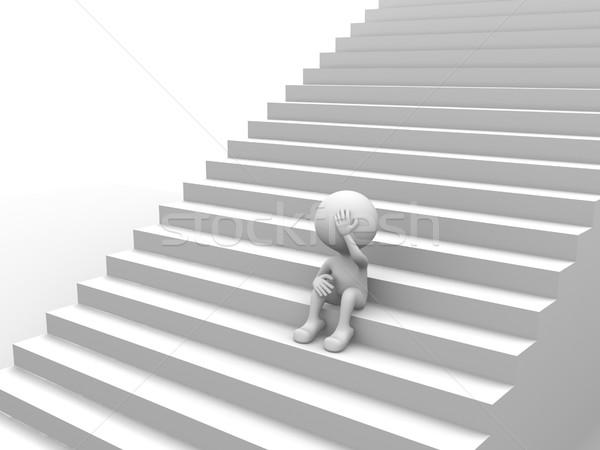 Iç karartıcı 3d insanlar adam kişi merdiven erkekler Stok fotoğraf © orla