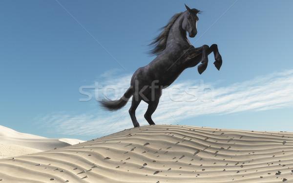 At kumul manzara 3d render örnek Stok fotoğraf © orla