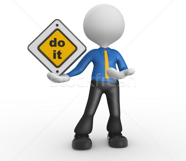 3d pessoas homem pessoa placa sinalizadora rua equipe Foto stock © orla