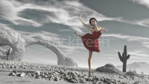 バレリーナ 赤 砂漠 3dのレンダリング 実例 女性 ストックフォト © orla