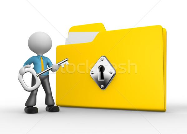 Zdjęcia stock: Biznesmen · 3d · osób · człowiek · osoby · chroniony · folderze
