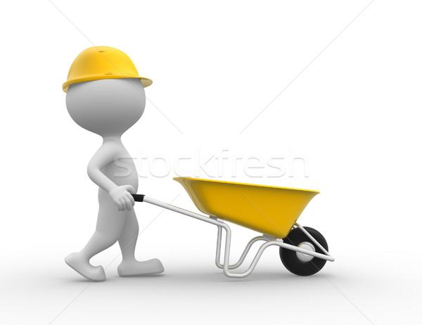 Brouette gens 3d homme personne travailleur de la construction construction Photo stock © orla