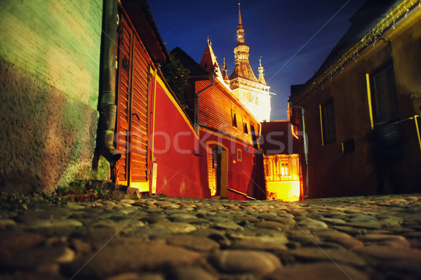 Night view to the clock tower in  Fortress Sighisoara  Stock photo © orla