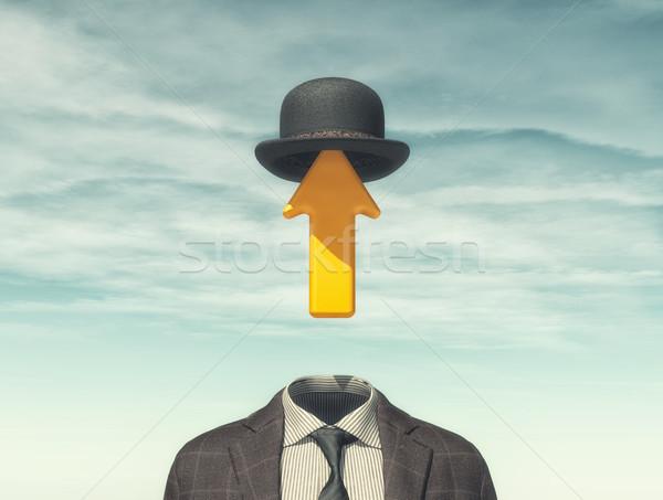Businessman with an arrow instead Stock photo © orla